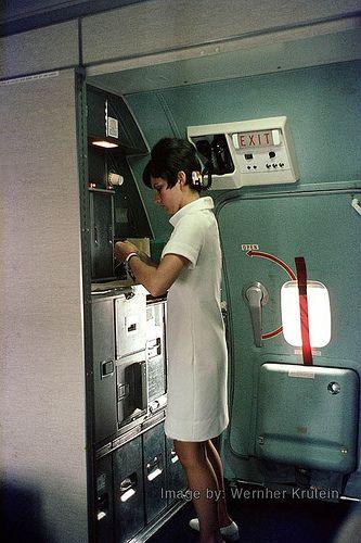 Stewardess, Flight Attendant, Cabin Crew, Boeing 727-223, American Airlines, Galley, 1968
