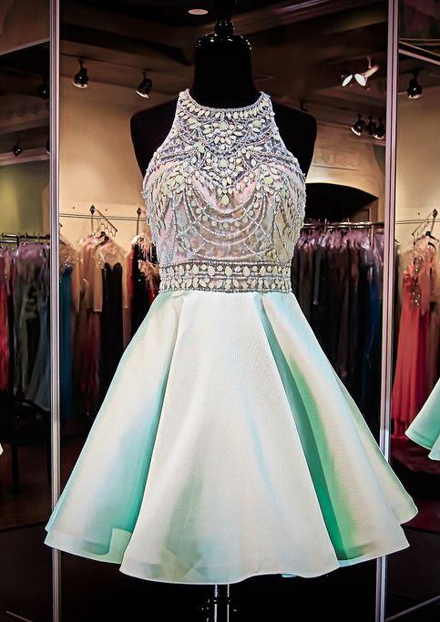 Halter Neck Crystals Short Homecoming Dresses-Babyonlinedress.com