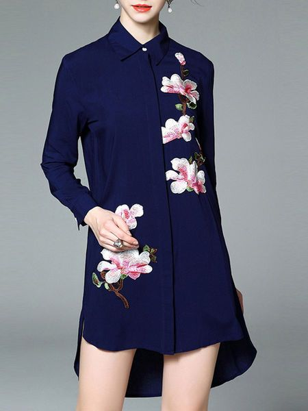Dark blue Floral V neck Long sleeve H-line Casual Embroidered Asymmetric Cotton-blend Tunic