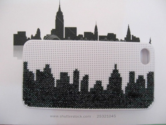 Cross Stitch New York Silhouette iPhone by handstitchedbyaylin, $40.00