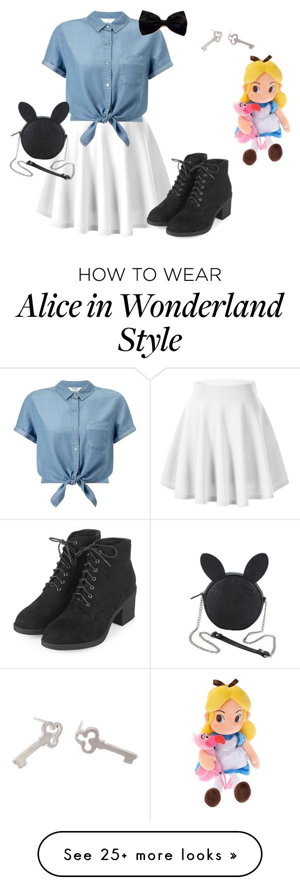"""Alice in wonderland"" by madzzbrookez on Polyvore featuring Miss Selfridge, Topshop, Disney and Sian Bostwick Jewellery"