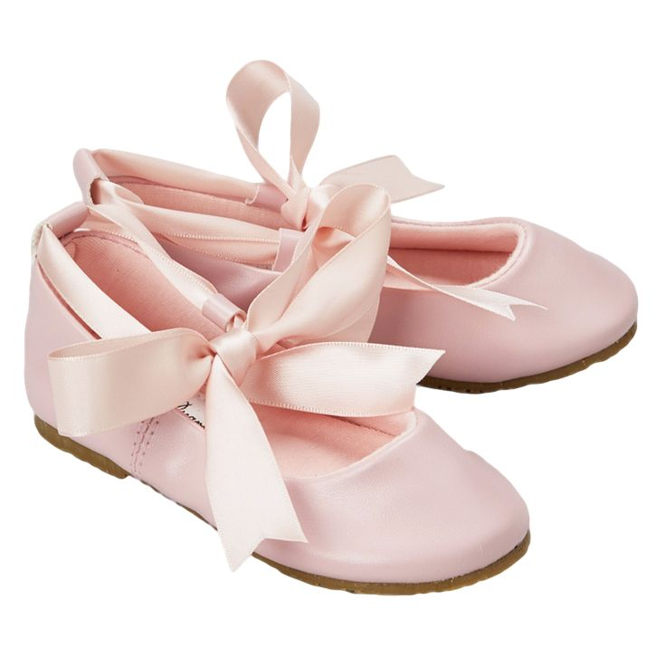 Pink Ballet Flats Dress Shoes with Grosgrain Ribbon Tie (Baby, Toddler & Girls Sizes)