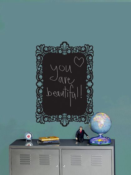 WallCandy Arts Chalkboard Framewall Stickers $19 Gilt  This chalkboard frame is the perfect place to write your thoughts, leave messages, drawings and ideas no matter where you are. Removable and reusable without damaging walls Features * Kit includes: 1 chalkboard approximately 25 inches in length by 17¼ inches in width * Chalk included  Material: Non-toxic and 100% lead free  Brand: WallCandy Arts  Origin: United States