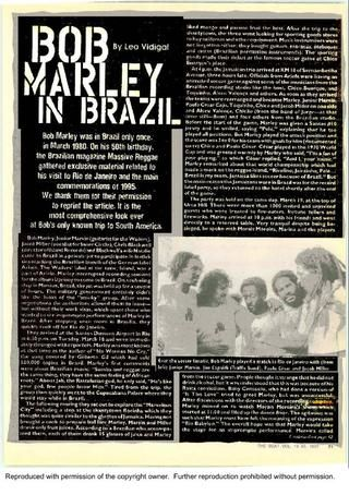 **Bob Marley** 'Bob Marley in Brazil' by Leo Vidigal; The Beat No.16, March 1, 1997. For reading: https://issuu.com/marleyarchives/docs/bobbrasil?backgroundColor=%23222222. More fantastic press articles & releases, pictures, music and videos of *Robert Nesta Marley* on: https://de.pinterest.com/ReggaeHeart/