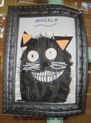 Peinture à la fourchette et collage- Chat- Les patouilles de bout2fée