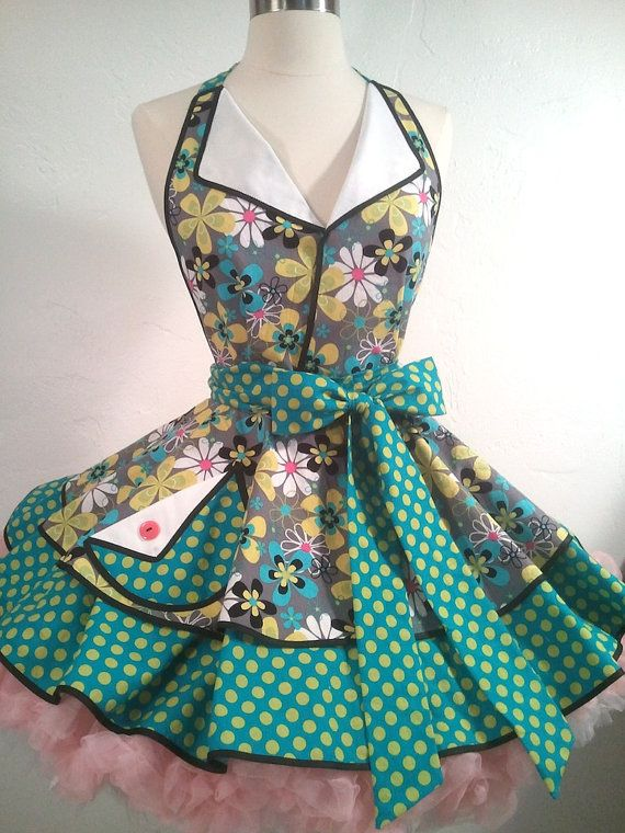 June Cleaver Pin Up Apron, Teal Garden, 50's Housewife - Ready To Ship