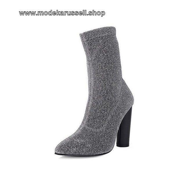 Samt Damen Kurz Stiefel Silber