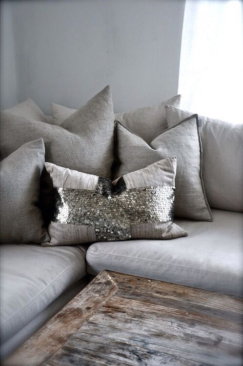 Sequin Pillow Greys And Wooden Coffee Table Home Style