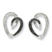 Black and Whit Diamond heart Post earrings #ibraggiotti #valentinesday