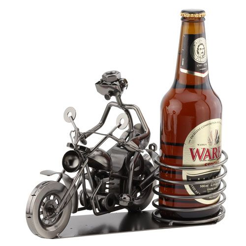 This Biker Beer Holder is made from metal with a black lead free nickel plating.. This beer bottle or can holder makes a perfect gift for dad.