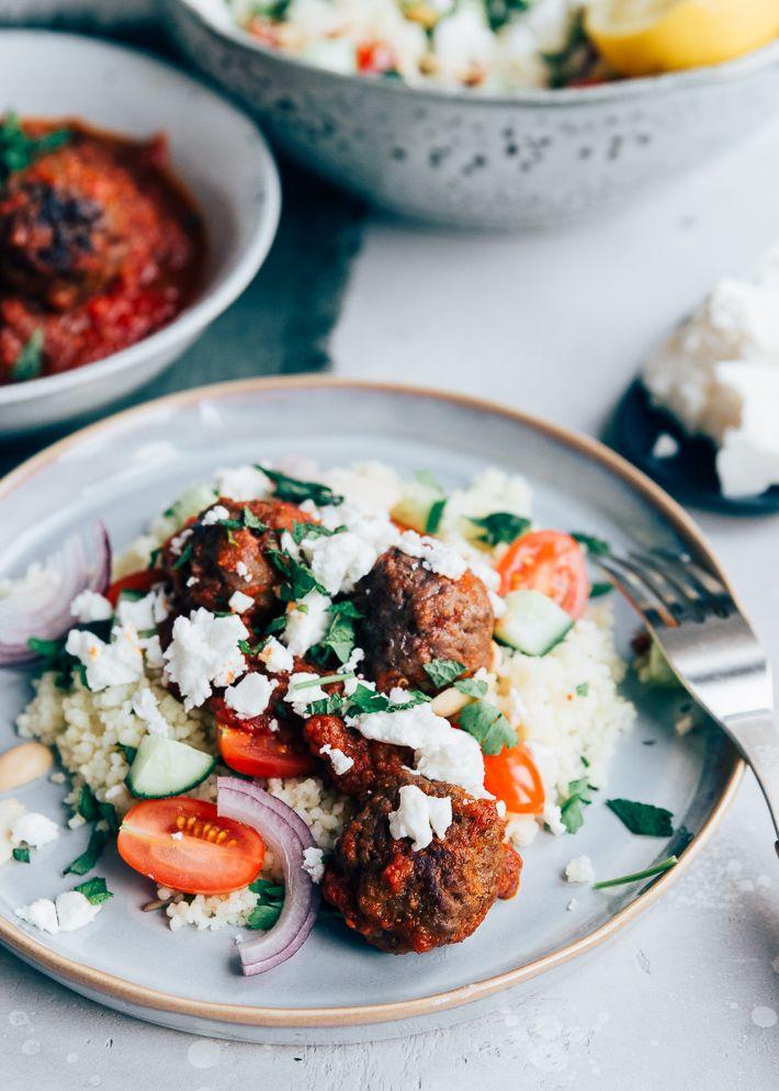 Couscous Met Gehaktballetjes Uit Pauline S Keuken Recept Couscous Voedsel Ideeen Avondeten