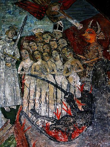 15th century Doom painting located at North Leigh, Oxfordshire.