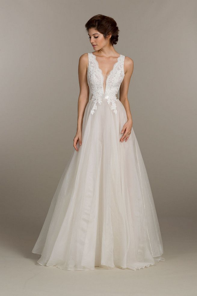 Lace and tulle Tara Keely Wedding Dress with deep v front adn back