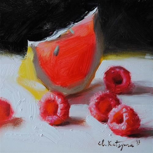 """Raspberries from My Garden"" - Original Fine Art for Sale - © Elena Katsyura"