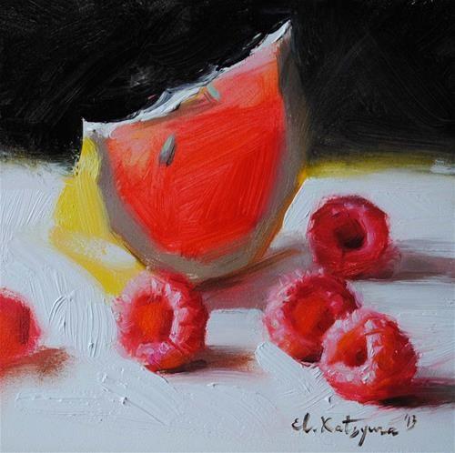 """Raspberries from My Garden"" - Original Fine Art for Sale - © Elena Katsyura"
