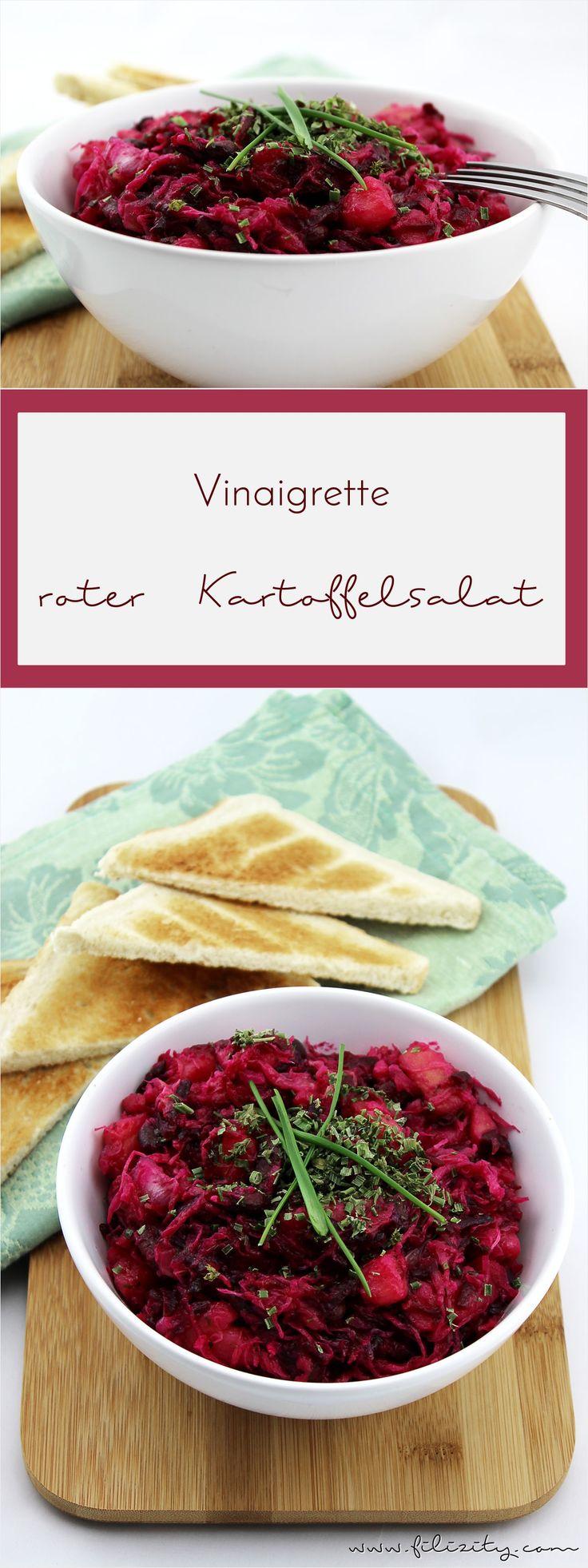 Perfekt für's (Silvester-) Party-Buffet: Vinaigrette - knallroter Kartoffelsalat #rezept #party #silvester #buffet #salat
