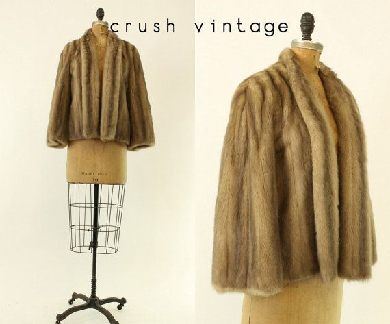 40s / 50s Mink Jacket  XS Small / 1950s I Magnin Cropped Fur Coat / Cheshire Connecticut Coat