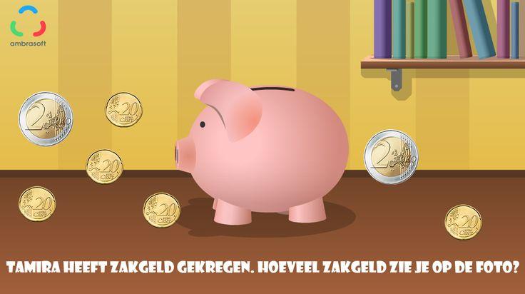Ambrasoft - Knutselplaat - Hoeveel zakgeld heeft Tamira gekregen - rekenopgave - rekenen