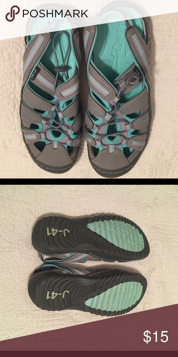 J-41 ADVENTURE ON SHOES IN SIZE 6.5 JEEP ENGINEERED TRACTION SOLE J-41 ADVENTURE ON TEAL AND GREY SHOES IN SIZE 6.5! ONLY BEEN WORN ONCE!! ANY OFFER WELCOMED AND CONSIDERED❕ Shoes