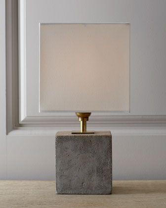 Regina-Andrew Design Concrete Cube Mini Lamp - Neiman Marcus, $210 -- concrete lamps are hugely trending right now