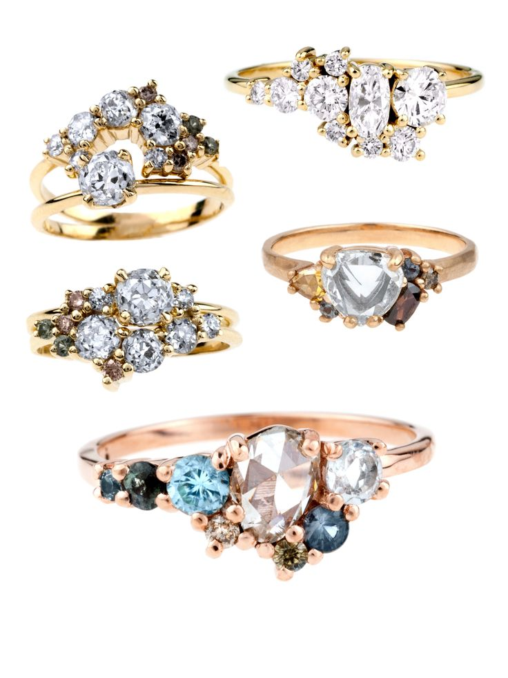 Heirloom diamonds and ethically-sourced gems bring romance to our latest round-up of bespoke ombre cluster rings. These gorgeous Engagement Rings radiate with pale, soothing colors and rose-cut diamonds.
