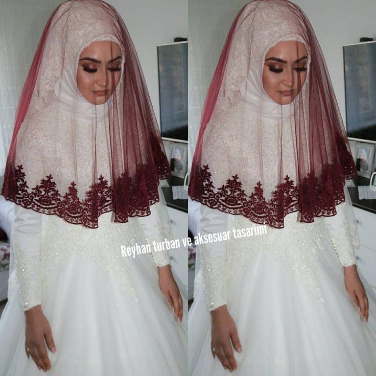 Stunning wedding hijab in white with burgundy veil