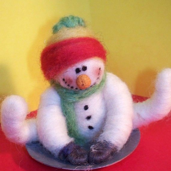Wool Snowman on Saucer Ornament by WhimsicalWoolies on Etsy