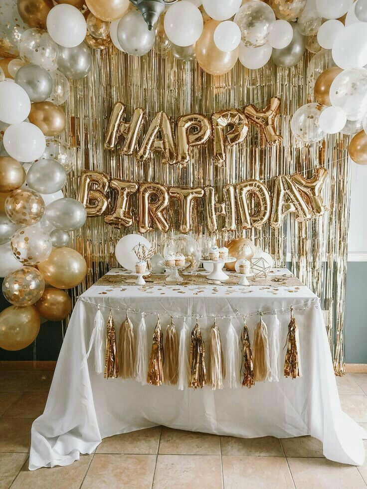 Pin By Katie Thompson On Birthday In 2021 Gold Birthday Party Decorations 21st Birthday Decorations Surprise Birthday Decorations