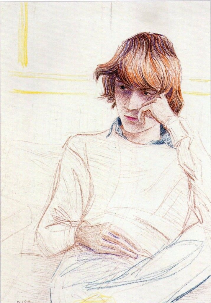 Elizabeth Peyton. The directional pencil strokes give the suggestion of texture.