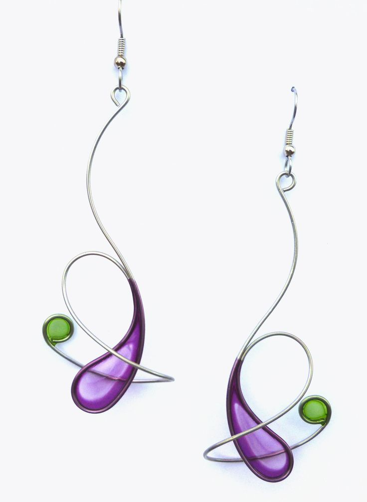 Stainless steel dangle earrings in purple and light olive- handmade jewelry.
