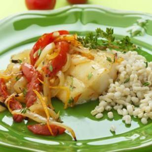 Roasted Cod, Tomatoes, Orange & Onion via EatingWell.  http://www.eatingwell.com/recipes/roasted_cod_tomatoes_orange_onions.html
