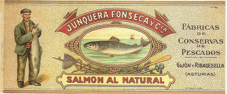 Antigua etiqueta de salmón al natural de la fábrica de conservas de pescados de JUNQUERA, FONSECA Y CIA, en Gijón y Ribadesella