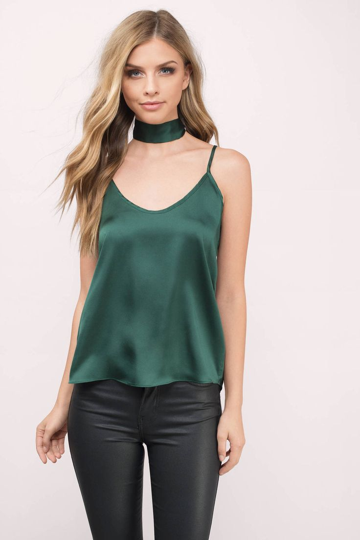 Pair this jade satin neck tie blouse with jeans and heels for your next day out.