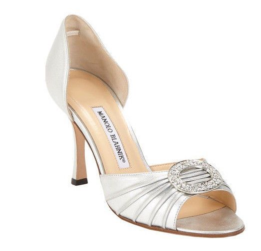 manolo blahnik silver sedaraby heels