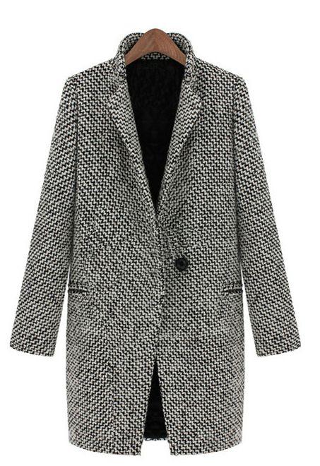 Abrigo solapa de soporte con muesca mangas largas-Blanco y negro
