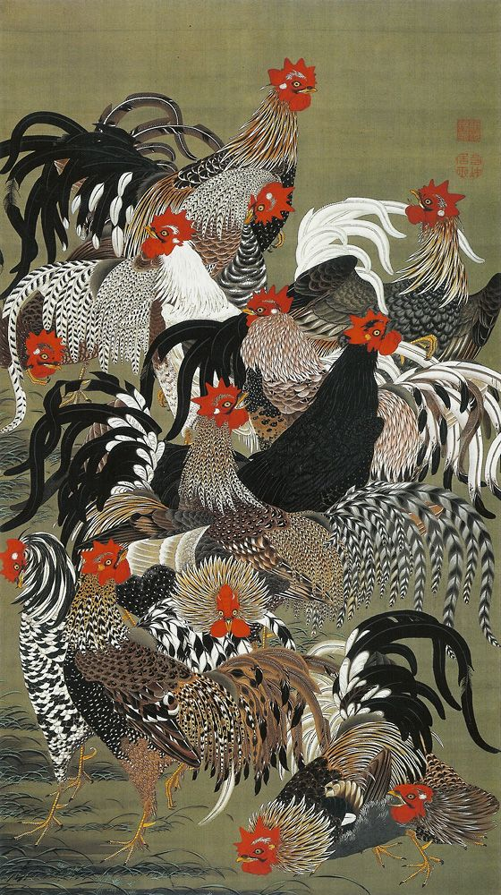 by 伊藤若冲  Jakuchu ItoItō Jakuchū, Jakuchu Ito, Roosters, Illustration, Japanese, Chicken Art, Ito Jakuchu, Birds, Animal