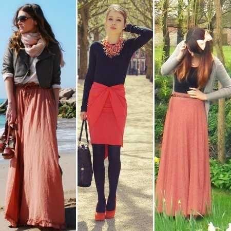 look-invierno-falda-color-coral