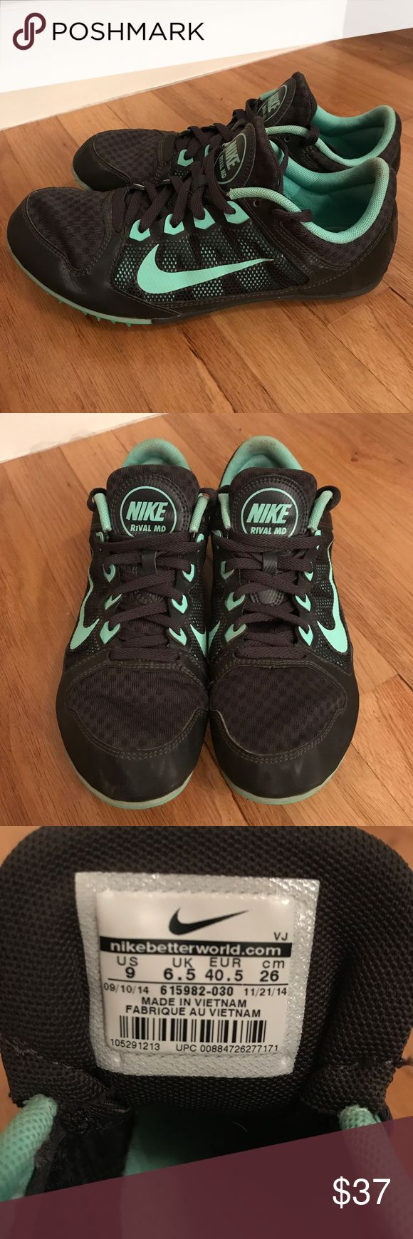Nike Rival MD Track Shoes Used, still in great condition Size: 9 Bought from: Sports Authority  Color: Black / Teal Blue Inside: Teal Blue Additional Info: Used for pole vaulting and sprinting, includes a track and field draw string bag, additional track spikes and a track wrench.   Reason for selling: Not needed   Selling for $37 or Best Offer Nike Shoes Athletic Shoes