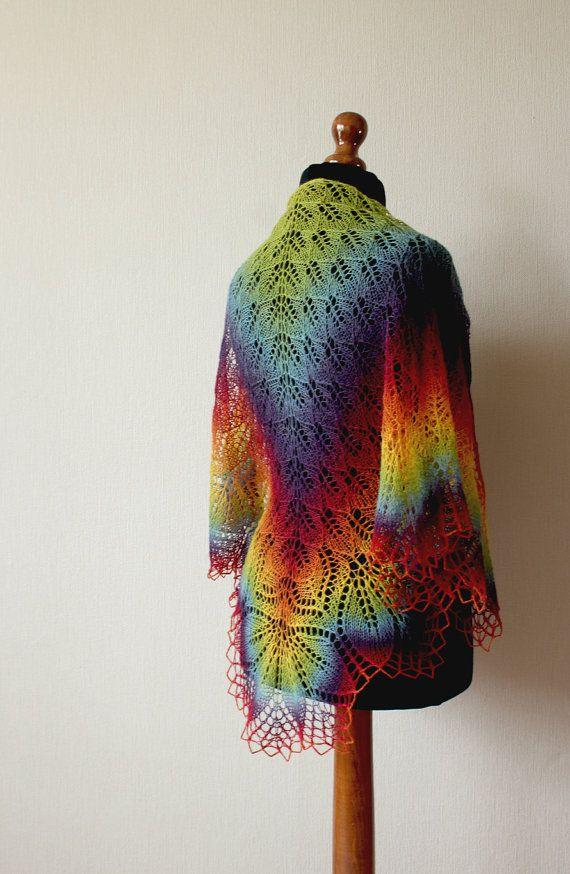 Handknitted lace shawl  rainbow shawl van KnittyStories op Etsy