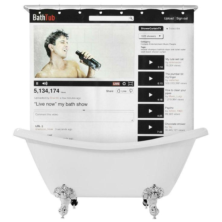 """La tenda doccia """"Online Video""""  è lavabile in lavatrice, 100% poliestere con una finestra in PVC trasparente. Anelli di aggancio inclusi."""