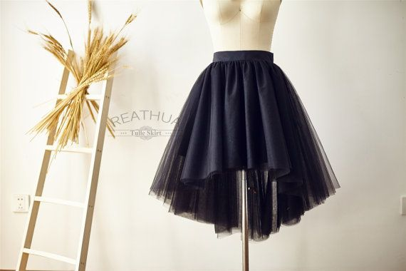 Black Hi Low Asymetical UnevenTulle Skirt/Short Women Tulle Skirt/TUTU Tulle Skirt/Wedding Bridal Bridesmaid Skirt/Knee Skirt