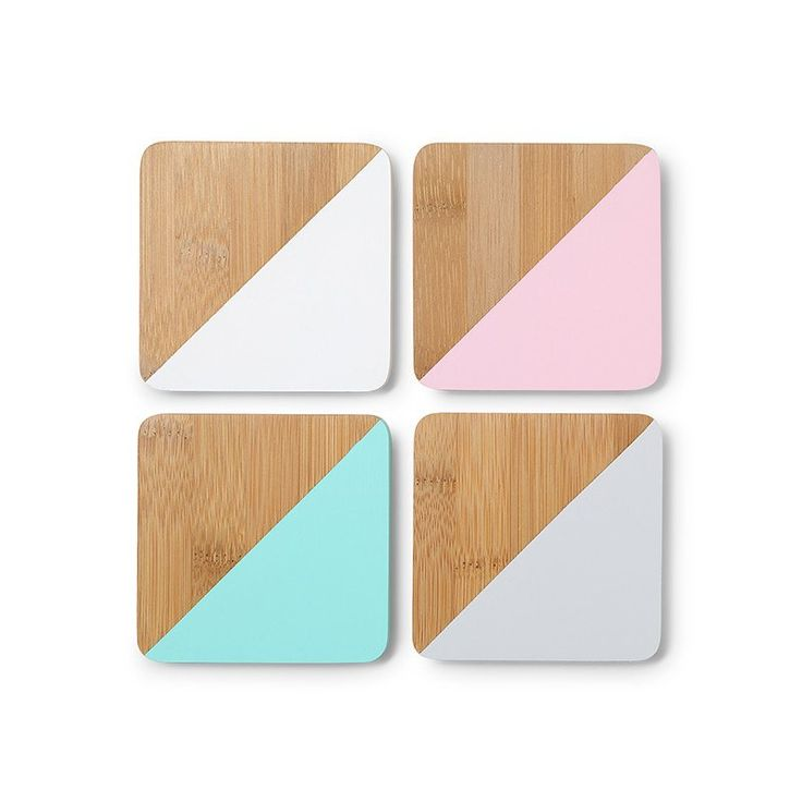 Crossway Bamboo Coaster Set by Arro Home. Pastel rose, mint, white and grey - set of 4 - $18   For Keeps: Homeware, Art Prints, Planters & Gifts