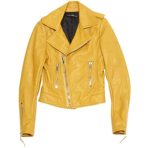 Pre-owned Balenciaga Leather Jacket (£770) ❤ liked on Polyvore featuring outerwear, jackets, yellow, yellow leather jacket, genuine leather jackets, leather jackets, yellow jacket and real leather jackets