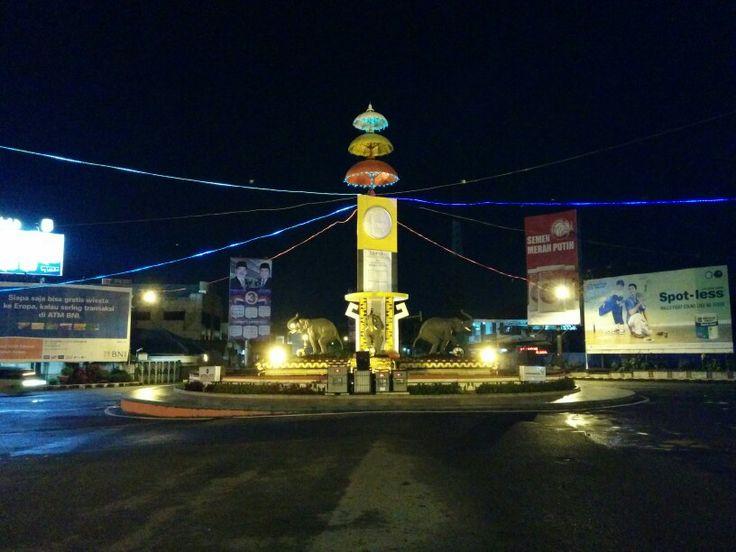 Bundaran Gajah, Tugu Adipura at the Center of Bandar Lampung City, Indonesia.