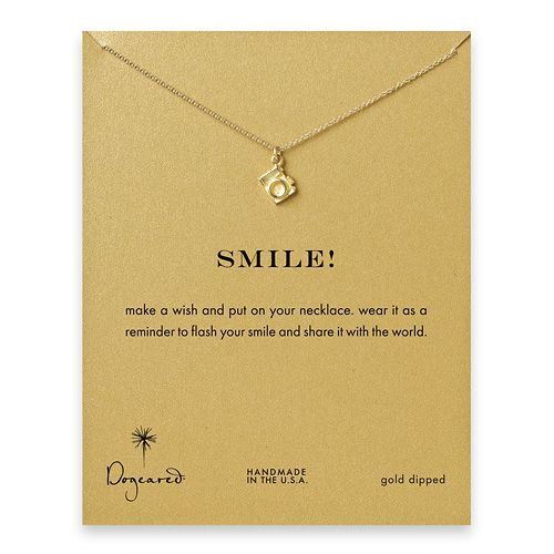 smile! reminder necklace with gold dipped camera $58