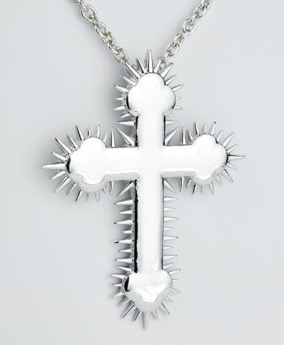 Silver Metal Spike Cross Necklace Death Sun Shadow Pendant