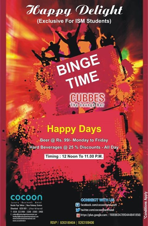 Special Offer for ISM students exclusively @CUBBES.  #cocoonhoteldhanbad http://www.hotelsushantinternational.com/ http://cocoonhotel.in/