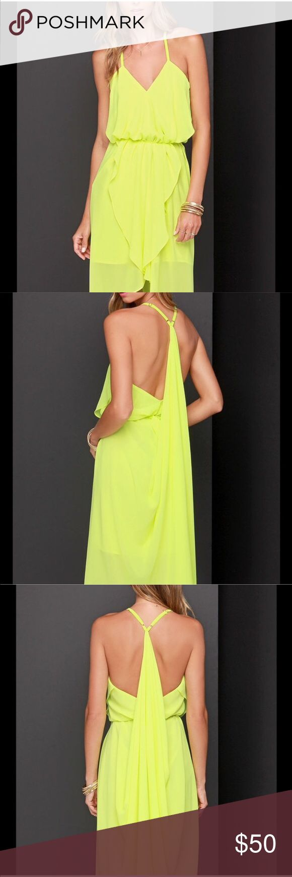 Chartreuse Dress Only worn once. Great color! Lulu's Dresses Midi