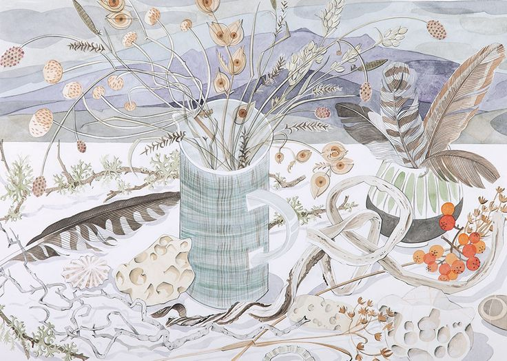 Beach and Moor Still Life - watercolour drawing by Angie Lewin
