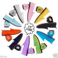 WOMENS FLOSSY FLOSSYS SLIP ON FLAT CANVAS PLIMSOLLS PUMPS SHOES UK SIZE 2-9 NEW